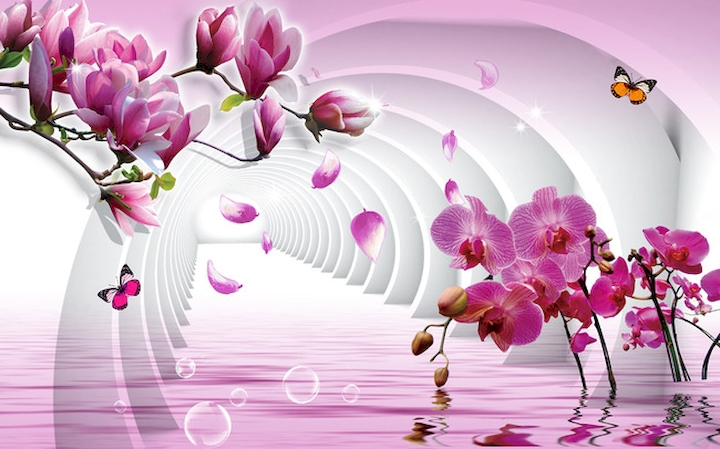 Цветы 3 д фотообои